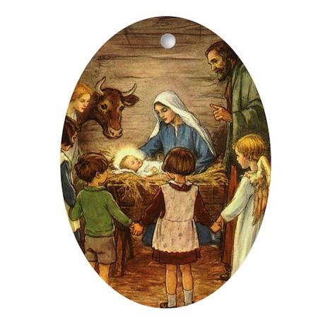 Vintage Christmas Nativity Ornament (Oval)