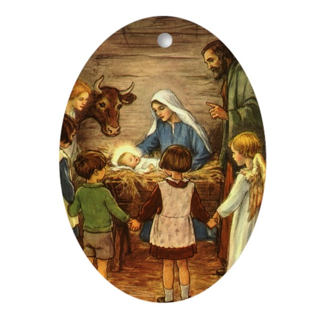 Vintage Religious Nativity Christmas Ornament: Vintage Christmas Nativity Ornament (Oval) By MasterpieceCafe