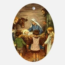 Vintage Christmas Nativity Ornament (Oval)