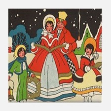Vintage Christmas Carolers Singing Tile Coaster