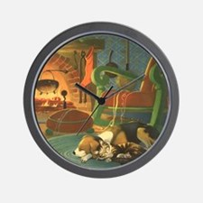 Vintage Christmas Pets by Fireplace Wall Clock