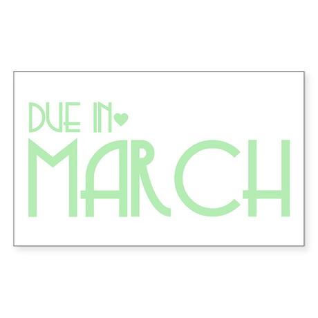 Green Urban Heart Due March Rectangle Sticker