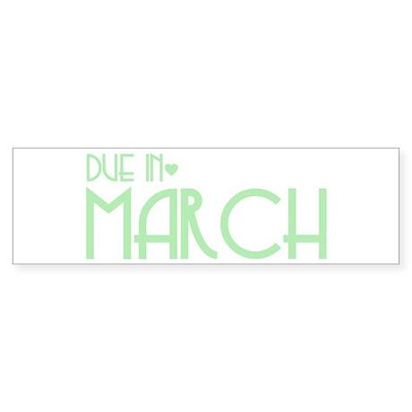 Green Urban Heart Due March Bumper Sticker