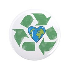 """Recycle Earth Heart 3.5"""" Button"""