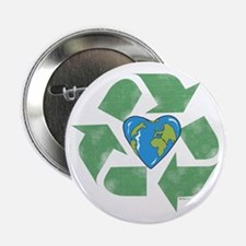 "Recycle Earth Heart 2.25"" Button"