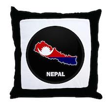 Flag Map of Nepal Throw Pillow