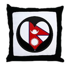 I love Nepal Flag Throw Pillow