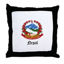 Nepalese Coat of Arms Seal Throw Pillow