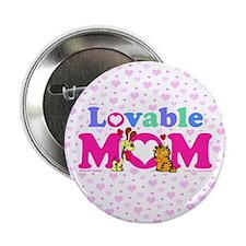 "Lovable Mom Vintage 2.25"" Button"