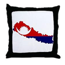 Nepal Flag Map Throw Pillow