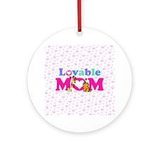 Lovable Mom Vintage Ornament (Round)