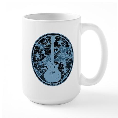 Blue Distressed Star Guitar Large Mug