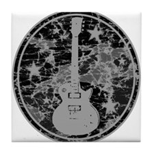 Grey Distressed Star Guitar Tile Coaster
