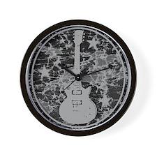 Grey Distressed Star Guitar Wall Clock