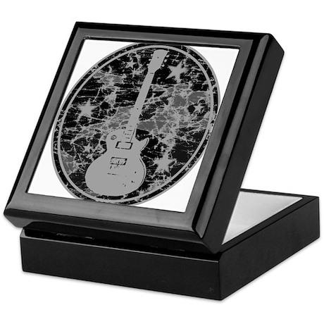Grey Distressed Star Guitar Keepsake Box