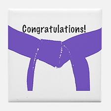 Martial Arts Congrats Purple Belt Tile Coaster