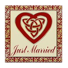 Celtic Heart Wedding Set Tile Coaster