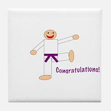 Purple Belt Congratulations Tile Coaster