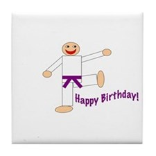 Purple Belt Kicking Guy Birthday Tile Coaster
