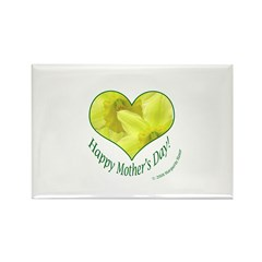 Daffodils in Heart, Mother's Day Rectangle Magnet