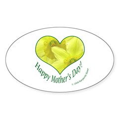 Daffodils in Heart, Mother's Day Oval Decal