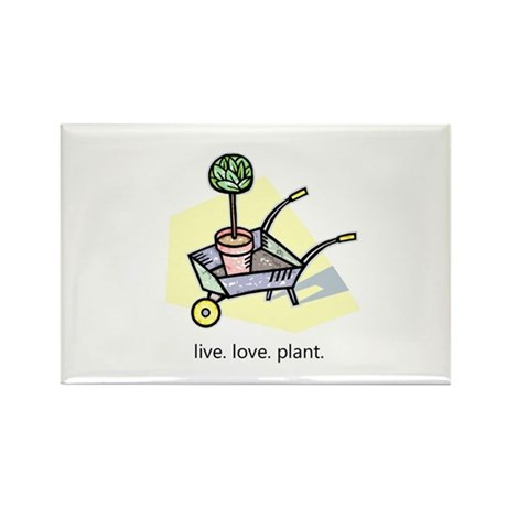 """Live. Love. Plant."" Rectangle Magnet"