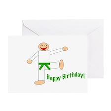 Green Belt Kicking Guy Birthday Card
