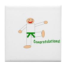 Green Belt Congratulations Tile Coaster
