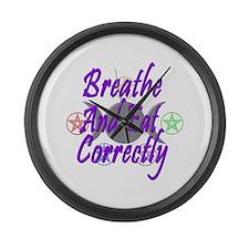 Breathe & Eat Correctly Large Wall Clock