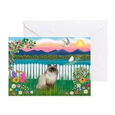 Garden Shore / Himalayan Cat Greeting Card