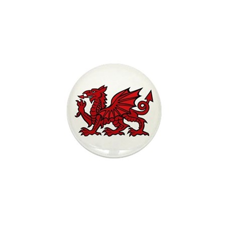 Red Welsh Dragon Mini Button