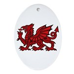 Red Welsh Dragon  Oval Ornament