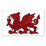 Red Welsh Dragon Rectangle Sticker