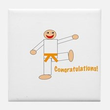 Martial Arts Congrats Orange Belt Tile Coaster