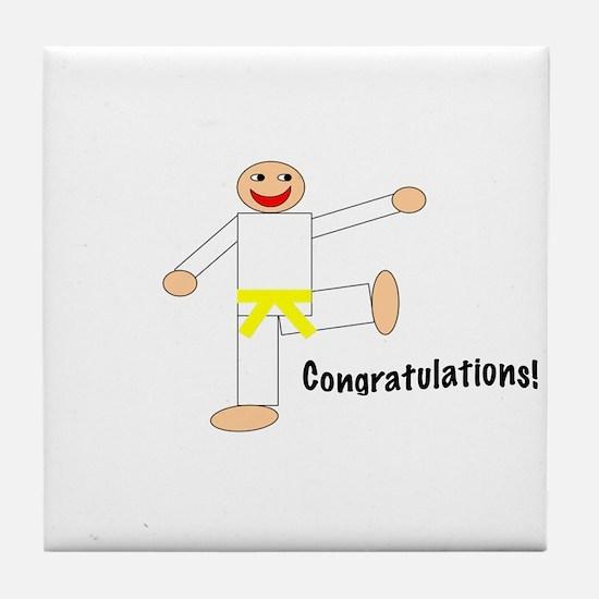 Martial Arts Congrats Yellow Belt Tile Coaster