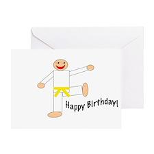 Yellow Belt Kicking Guy Birthday Card