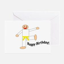 Yellow Belt Kicking Guy Birthday Card