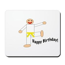 Yellow Belt Kicking Guy Birthday Mousepad