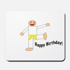 Yellow Belt Kicking Guy Birthday Mousepad