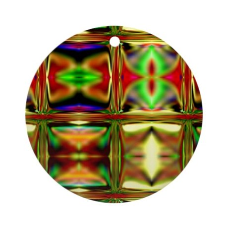 'Stained Glass Sunset' Round Keepsake Ornament
