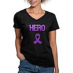 Pancreatic Cancer Sister Women's V-Neck Dark T-Shi