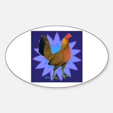 Starburst Gamefowl Hen Oval Decal