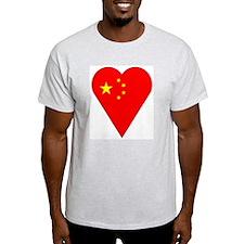 China Heart-Shaped Flag Ash Grey T-Shirt
