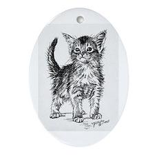 Somali Kitten Pen & Ink Oval Ornament