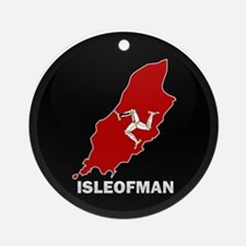 Flag Map of Isle of Man Ornament (Round)