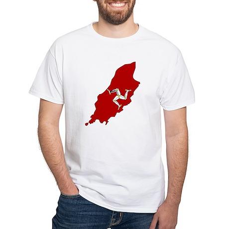 Isle of Man Flag Map White T-Shirt