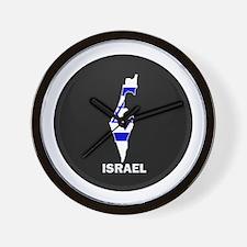 Flag Map of Israel Wall Clock