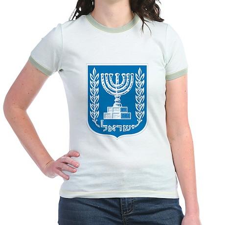 Israel Coat of Arms Jr. Ringer T-Shirt