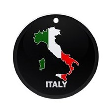 Flag Map of Italy Ornament (Round)