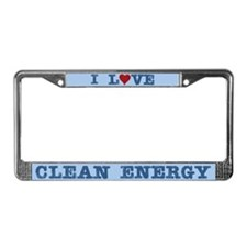 I Love Clean Energy License Plate Frame